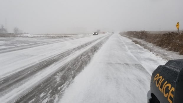 The OPP are reporting ice and snow-covered roads in and around the London area.