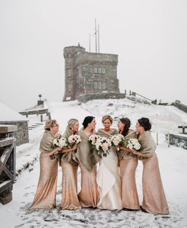 winter wedding snow signal hill