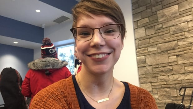 Skier Erin Bainbridge, 29, lives with cerebral palsy uses a mobility device, is delighted that Boler Mountain's new chalet includes an elevator