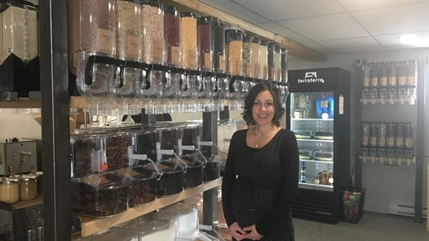 Manon Whittom has opened a zero waste grocery store in Edmundston, where customers bring their own containers and fill them up with bulk goods.