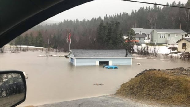 Flooding in Benoit's Cove, N.L., on Saturday morning.