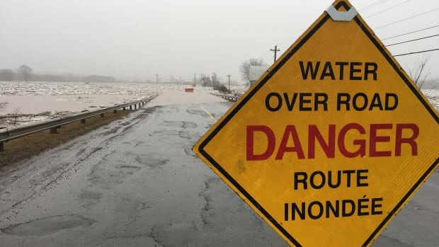 Route 101 between Blissville and Hoyt, N.B., was washed out Saturday morning. Heavy rains pummelled the province overnight Friday and into Saturday, causing road closures  in some parts of the province and putting some communities at risk of flooding.