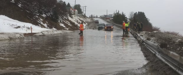 Flooded highway halfway point