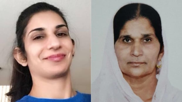 Peel Regional Police have identified the victims as Baljit Thandi, 32, left, and Avtar Kaur, 60, right.