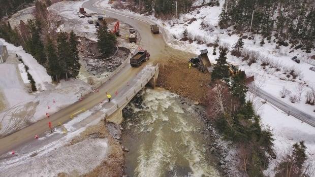 A view of work underway at Cellar Brook Bridge in Glenburnie, Bonne Bay, N.L.