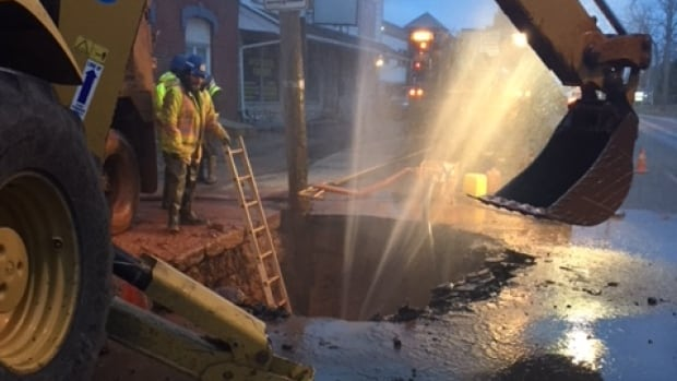 A water main break caused water to shoot out onto the street in Charlottetown early Sunday morning.