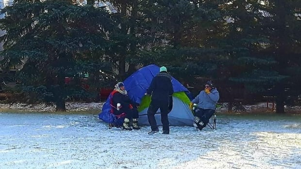 Campers set up their sites around 11 a.m. on Saturday morning in Lumsden.