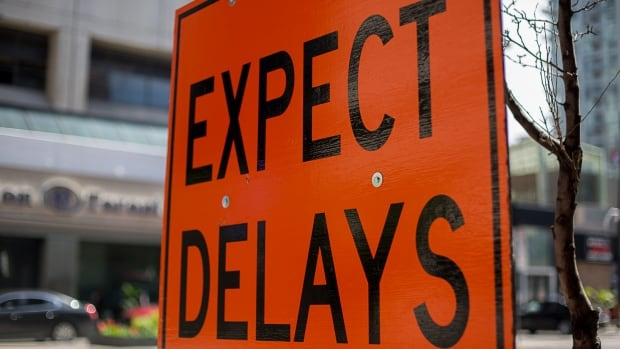 Expect delays road construction sign