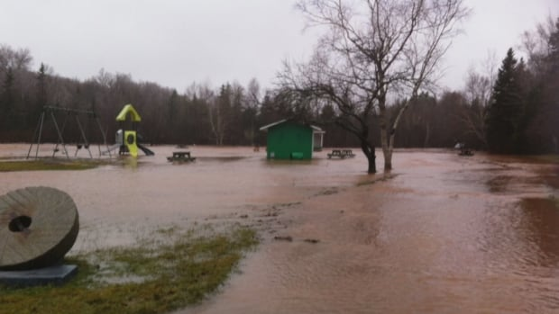 This photo shows the flooding at Bloomfield Provincial Park Saturday — it's since frozen over.