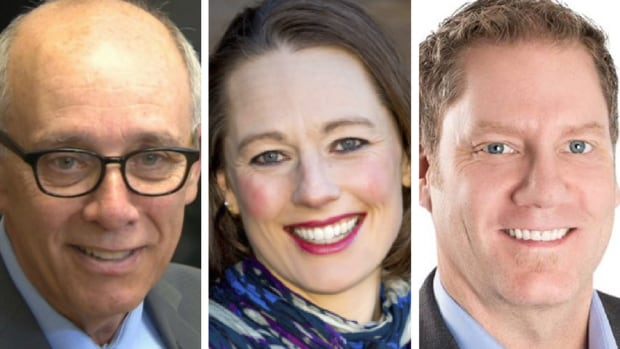 From left, Stephen Mandel, Kara Levis, and Rick Fraser are running to become the next leader of the centrist Alberta Party.