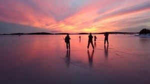 Pond hockey in Port Aux Basques