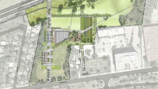 The NCC proposal for Rochester Field would see development on two parcels of land along Richmond Road, bottom left, separated by a walkway connecting pedestrians to the Sir John A. Macdonald Parkway.
