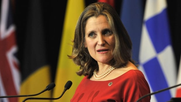 Foreign Minister Chrystia Freeland speaks during a news conference at the Vancouver Foreign Ministers' Meeting on Security and Stability on the Korean Peninsula, in Vancouver on Tuesday. Canada already has a wide-ranging set of  sanctions in place against North Korea.