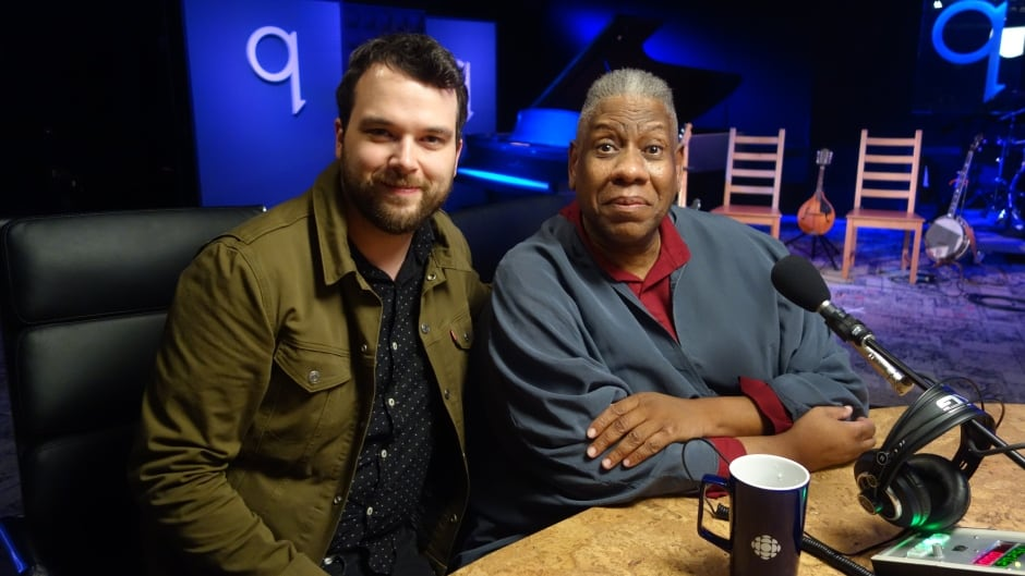 André Leon Talley with Tom Power in the q studio in Toronto, Ont.