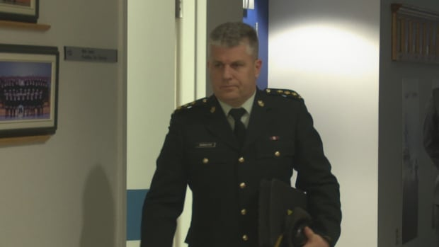 Capt. Todd Bannister, seen above arriving in court on Monday, has been under suspension as commander of a cadet corps in Charlottetown since the unit found out about allegations of inappropriate language directed at two female cadets.