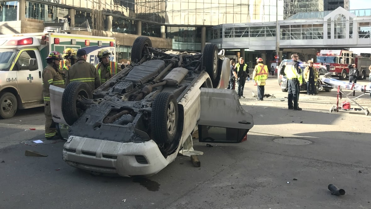 Driver of car flipped in downtown Calgary crash may have been drug-impaired, police say ...