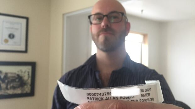 Al Patrick kept his hospital bracelet after his trip to the emergency room on Jan. 7.