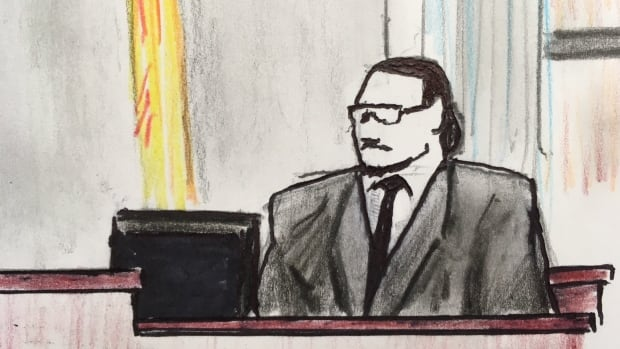 A sketch of Evan Polchies testifying in Fredericton court Thursday.
