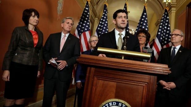 House Speaker Paul Ryan addresses a news conference with Republican leaders on Capitol Hill in Washington, Thursday.