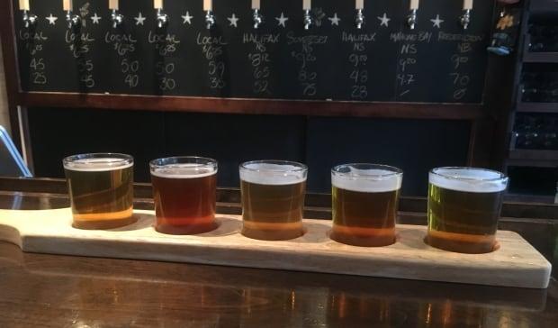 Flight of craft beer at Hopyard beer car in Charlottetown