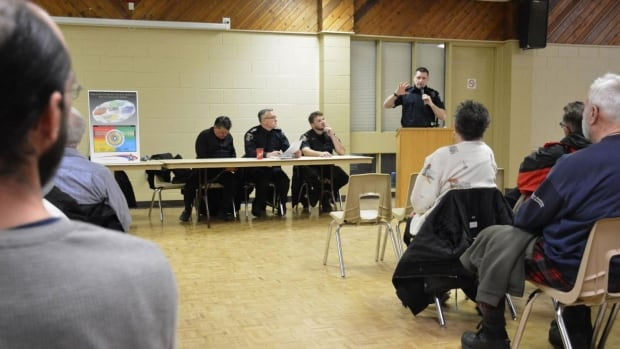 (From left to right): Sudbury Police Services Board chair Michael Vagnini, Staff Sgt. Terry Rumford, Constable Mathieu Guerin and Sgt. Randy Hosken attended a meeting Thursday night in Lively to discuss policing concerns.
