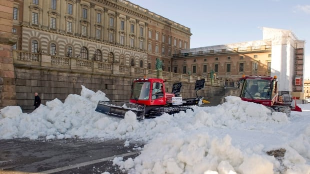 Snow is cleared outside of the Stockholm Royal Palace. In 2015, Stockholm brought a gender analysis to its snow-clearing policy, which ultimately helped make it easier for pedestrians, mainly women, to move around the city after snowfalls.