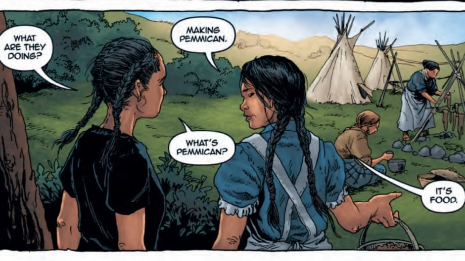 An image from Katherena Vermette's graphic novel, Pemmican Wars.