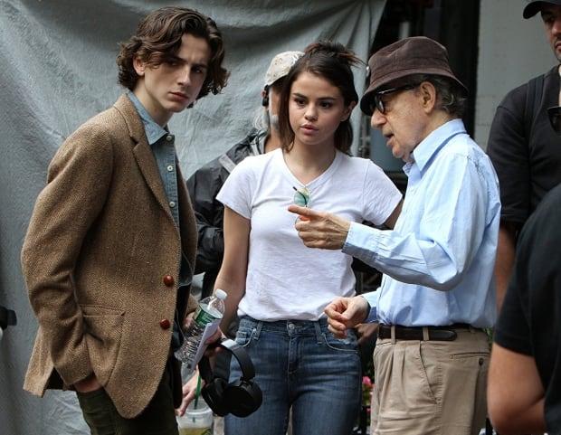 Woody Allen, Selena Gomez, and Timothée Chalamet in A Rainy Day in New York (2018)