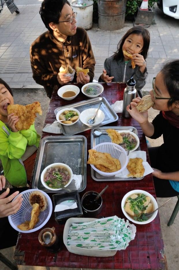 Enjoying Muslim breakfast in Beijing