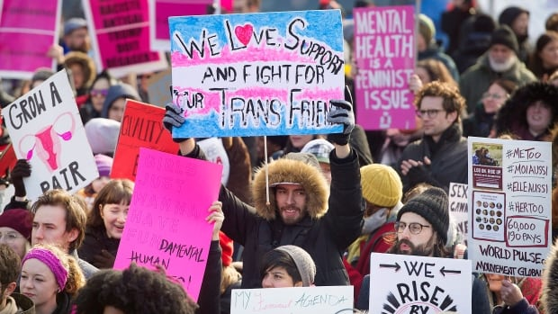 Saturday's women's march in Montreal focused on including more voiced into the modern feminist movement.