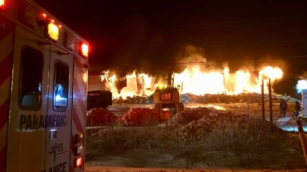 A blaze consumed Inuvik's ambulance bay early Saturday morning. Nobody was injured in the fire.
