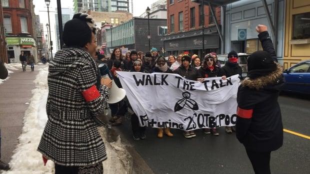 Walking the Talk march on Barrington Street in Halifax.