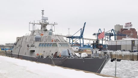 A U.S. Navy ship is trapped in Montreal until spring due to icy waters
