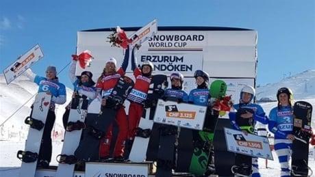 Canadians Odine, Bergermann win bronze in Snowboard Cross team event