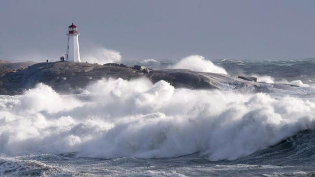 Waves pound the shore at Peggy's Cove, N.S. on  Jan. 5.