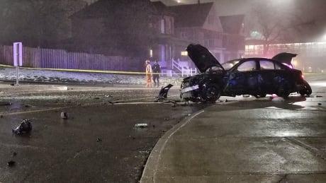 Single-vehicle crash on John St. S. sends 3 to hospital