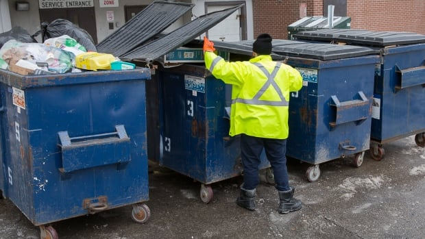 Statistics Canada carried out a frantic search of recycling and garbage containers like these ones in a failed bid to recover 587 long-form 2016 census surveys that were in the trunk of a car stolen in Montreal.