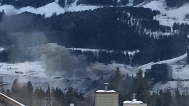 The United Steelworkers Union released this photo of the smoke coming from Teck's Elkford mine after an explosion in the coal dryer Jan. 18.