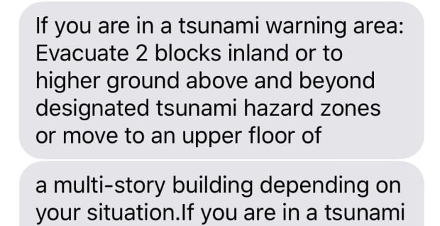 City of Victoria text warning messages tsunami threat Jan 23 2018