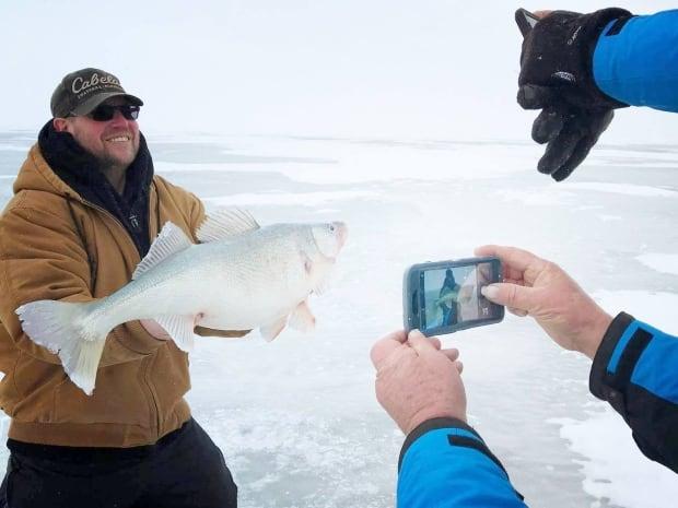 Ice fishing Lake Winnipeg