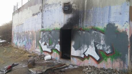 Makeshift dwelling for homeless destroyed by fire