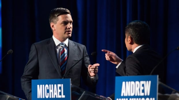 Todd Stone and Michael Lee debate during the B.C Liberal Leadership debate in Vancouver, B.C., on Tuesday January 23, 2018.