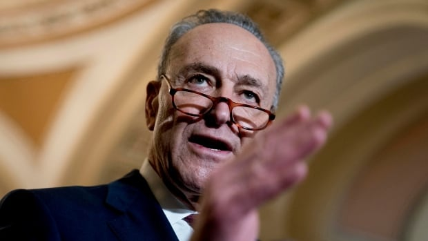 Senate minority leader, Sen. Chuck Schumer of New York, speaks to reporters on Capitol Hill in Washington on Tuesday. Schumer says an offer to fund Trump's border wall is 'off the table.'