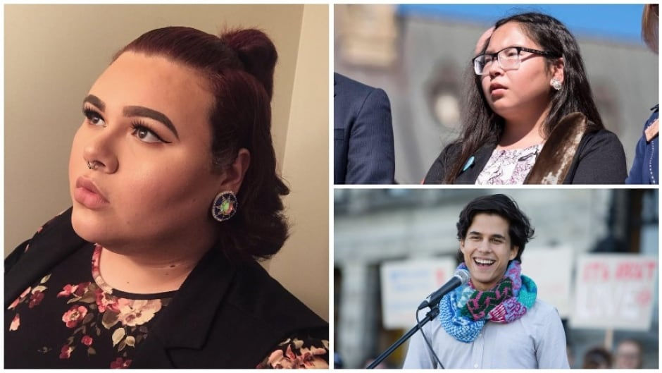 Clockwise from main image: jaye simpson, Reina Foster and Dylan Cohen are all Indigenous youths who have spent time in Canada's care system.