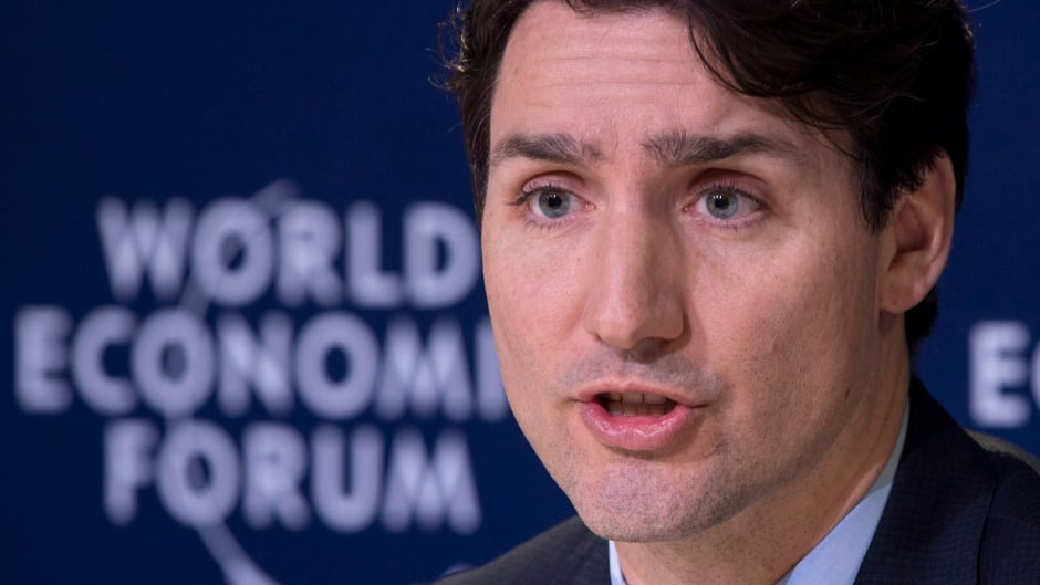 Prime Minister Justin Trudeau responds to a question during the closing news conference at the World Economic Forum Thursday, January 25, 2018 in Davos, Switzerland.