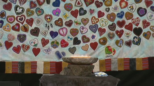 The beaded heart tapestry hung at the inquiry into missing and murdered Indigenous women and girls in Yellowknife.