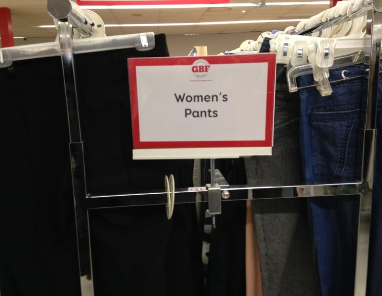 A Rack Of Women S Pants In The Gbf Thrift Shop In Grimsby