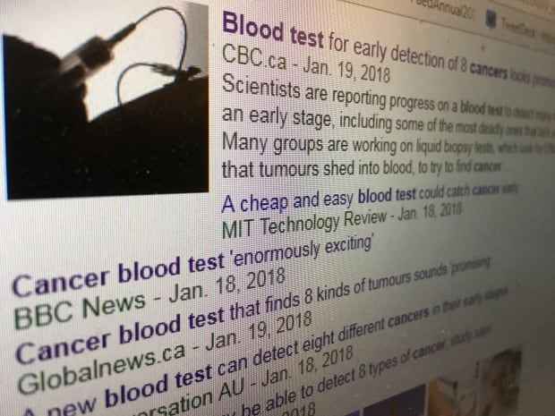 Blood test cancer search results