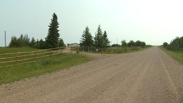 The road to Gerald Stanley's farm in the Biggar, Sask., area in a photo taken in August 2017. Stanley, 56, was found not guilty of second-degree murder in the death of Colten Boushie, a young man from Red Pheasant First Nation who drove onto Stanley's rural property in August 2016 with four friends.