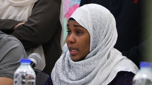 Idiatou Barry struggled through tears as she talked about her late husband, Mamadou Tanou Barry, killed in last year's attack on a Quebec City mosque.